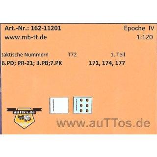 Decalsatz Taktische Nummern NVA T72