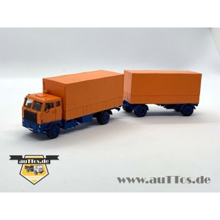 DEUTRANS-Hängerzug Volvo F88 4x2 Pritsche/Plane orange/blau